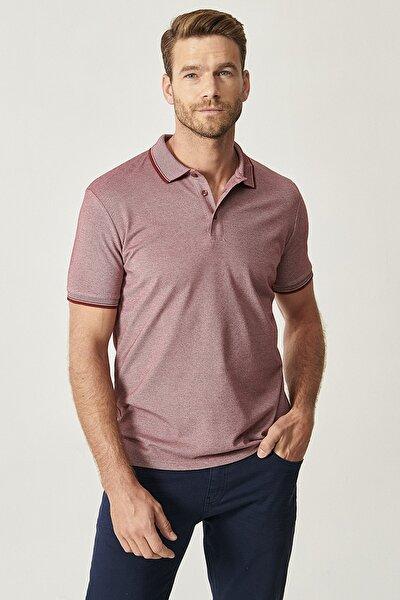 Erkek Bordo Düğmeli Polo Yaka Cepsiz Slim Fit Dar Kesim Düz Tişört
