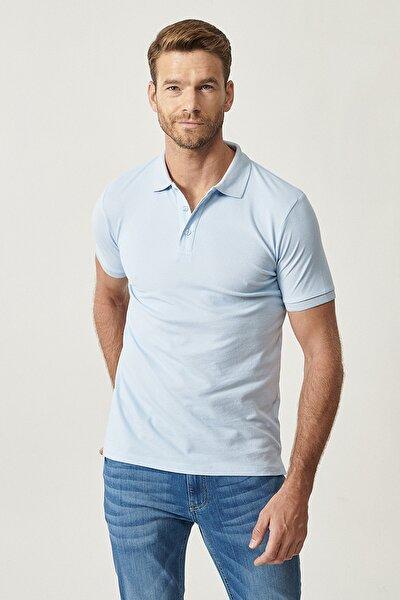 2 Al Sepette Ek %20 İndirim Açık Mavi Düğmeli Polo Yaka Cepsiz Slim Fit Dar Kesim Düz Tişört