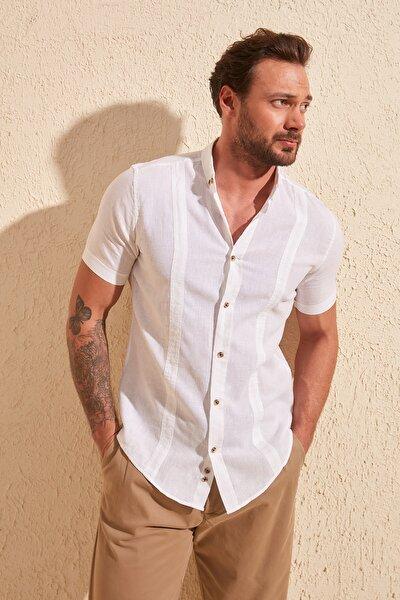 Beyaz Erkek Slim Fit Keten Kuplu Kısa Kollu Gömlek TMNSS20GO0099