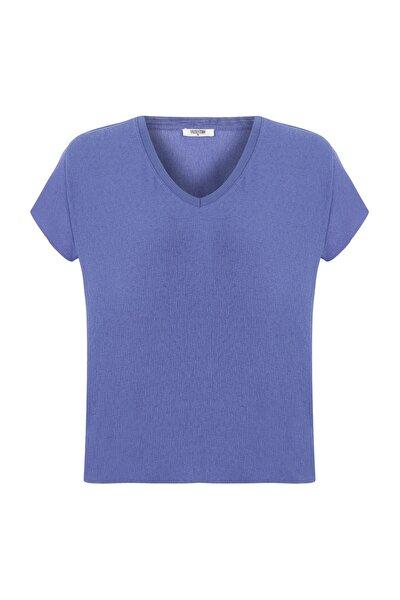 Kadın Aqua V Yaka Çizgili Casual Bluz 373032
