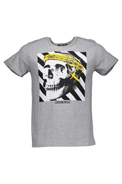Erkek Gri Baskılı Tshirt