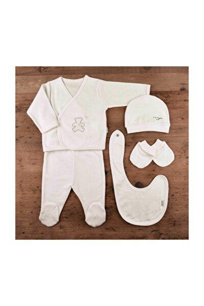 Kız - Erkek Bebek Organik 5 Li Hastane Çıkışı Seti Ekru 752095