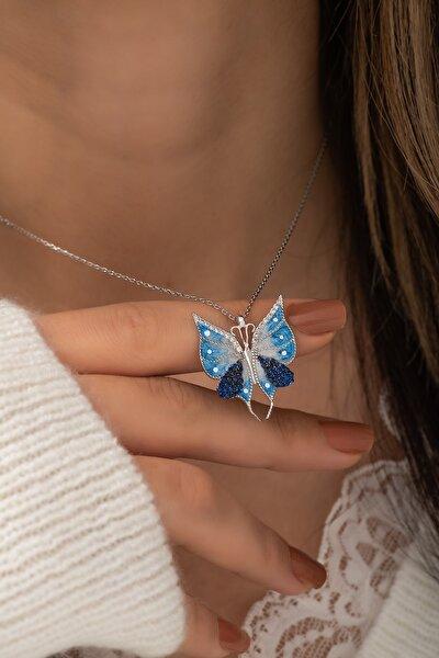 925 Ayar Gümüş Mavi Mineli Kelebek Kolye Bayan Gümüş Kolye