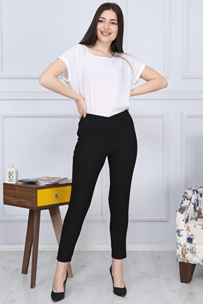 Dar Paça Beli Lastikli Likralı Kumaş Pantolon Cepsiz Siyah