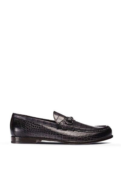 Gri Kroko Erkek Loafer Ayakkabı 01649MTBAC01
