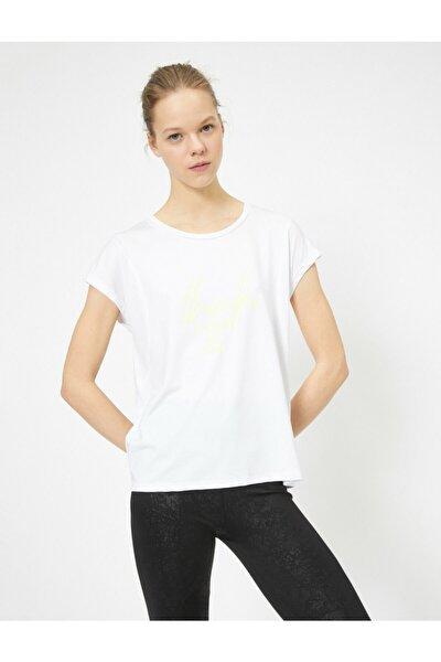 Kadın Beyaz Baskili T-Shirt 0YAK12206NK