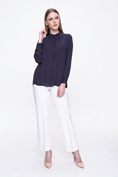 Kadın Lacivert Uzun Kol Bluz