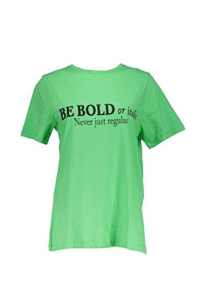 Neon Yeşil Önü Baskılı Bisiklet Yaka Kısa Kollu Tshirt