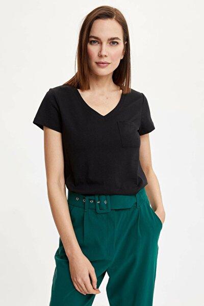 Kadın Siyah Basic Slim Fit Kısa Kollu T-Shirt N8387AZ.20SP.BK27