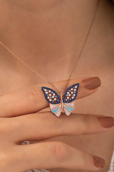 Kadın 925 Ayar Mavi Taşlı Gümüş  Kelebek Kolye