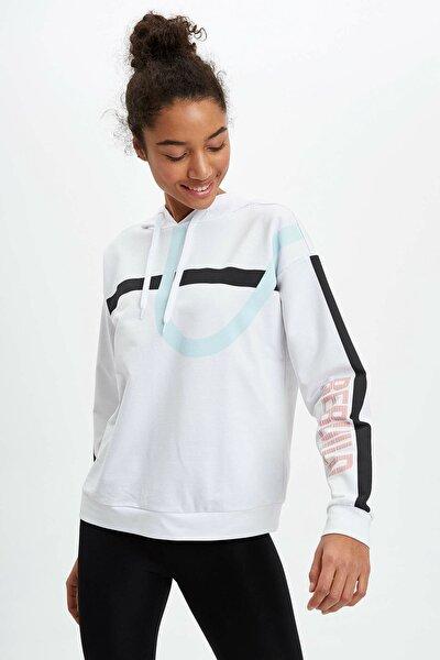 Fit Kadın Beyaz Regular Fit Kapüşonlu Sweatshirt R0659AZ.20SM.WT34
