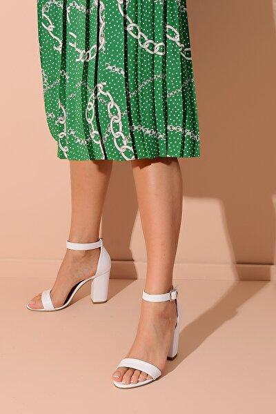 Beyaz Deri Kadın Topuklu Ayakkabı 20Y 205