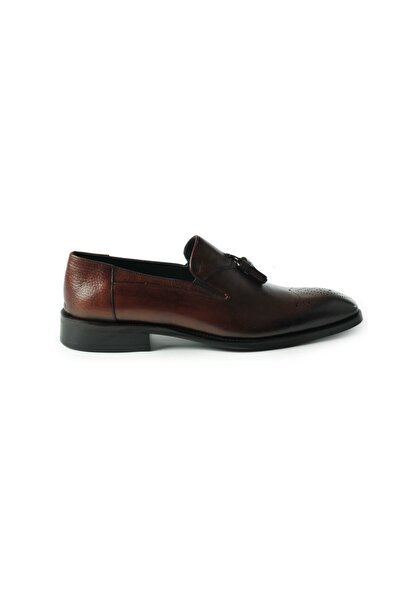 Hakiki Deri Loafer Püsküllü Kahverengi Erkek Ayakkabı
