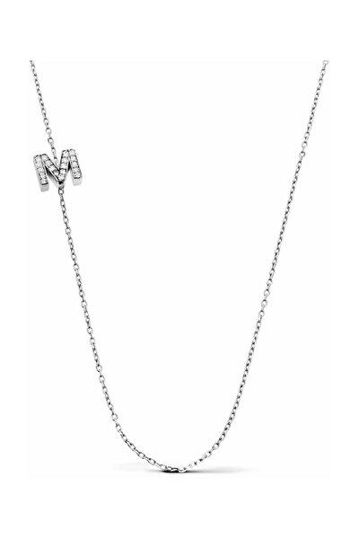 Gümüş M Harfi Kolye
