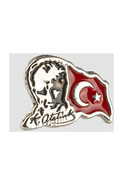 Ay Yıldız Tük Bayrağı Atatürk Resimli Gümüş Rengi Yaka Rozeti