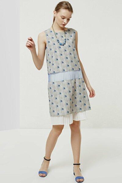 Kadın Gri Desenli Plise Detaylı Elbise 0YKEL7158X