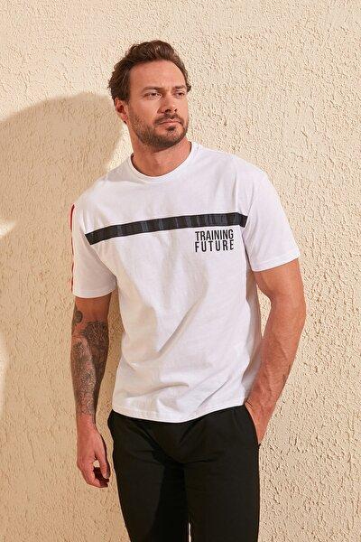 Beyaz Erkek Oversize Fit Baskılı  T-Shirt TMNSS20TS0876