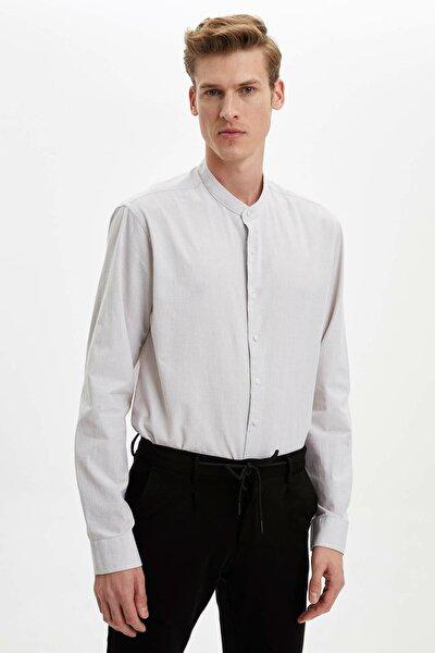 Erkek Bej Hakim Yaka Slim Fit Gömlek
