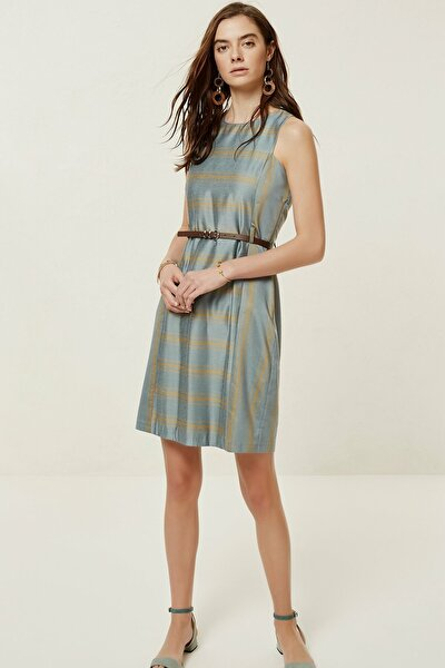 Kadın Turuncu Çizgili Kolsuz Elbise 0YKEL7131A