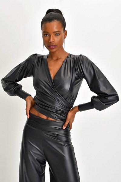Kadın Çift Kullanımlı Deri Anvelop Bluz