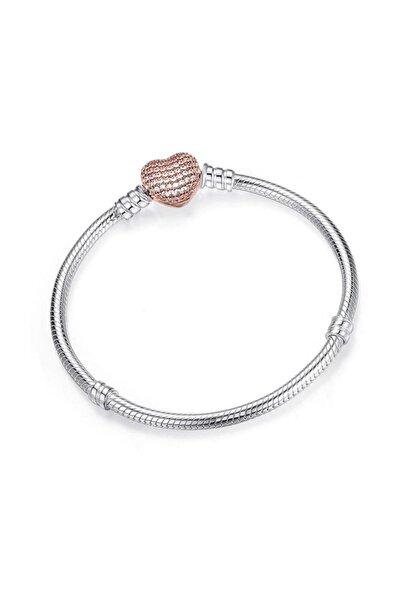 Pandora Model Kalpli Taşlı 16 cm Kadın Bileklik-rose