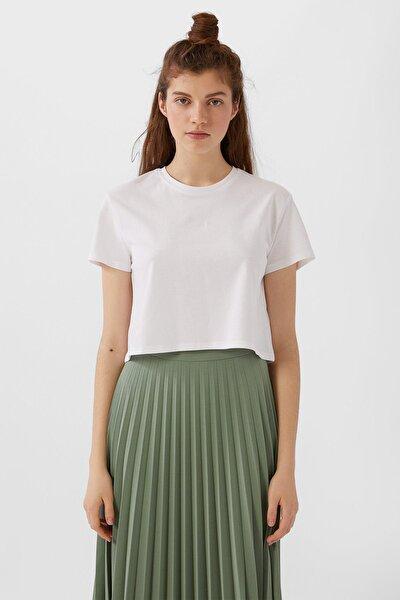 Kadın Beyaz Kısa Kollu Basic Crop Top 02505700