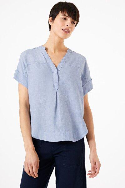 Kadın Mavi Keten Popover Bluz T43001387