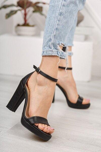 Kadın Siyah Cilt Yüksek Topuk Platform Ayakkabı