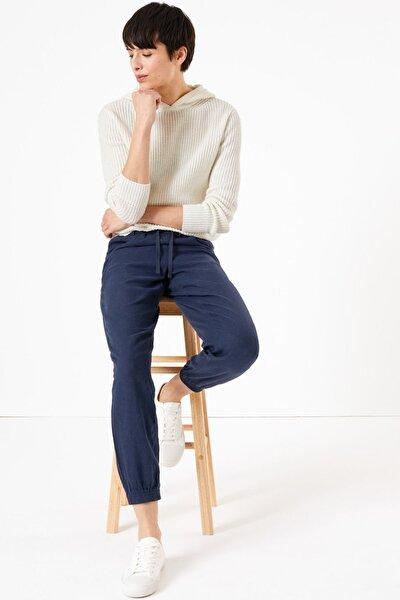 Kadın Lacivert Keten Ankle Grazer Pantolon T57007131