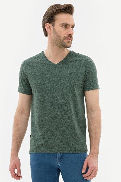 Erkek Koyu Yeşil Slim Fit V Yaka T-Shirt