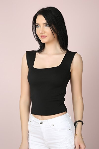 Kadın Siyah Kare Yaka Crop Bluz