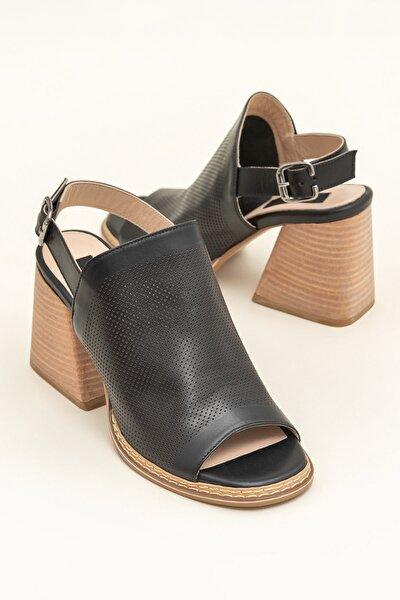 PATRA Hakiki Deri Siyah Kadın Sandalet