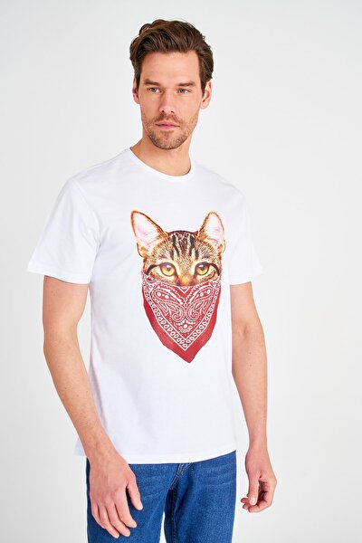 Beyaz Erkek Basklı Regular Fit T-Shirt TMNSS20TS0889