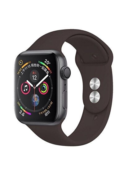 Apple Watch Silikon Kordon Kayış Seri 7 - 6 - Se - 5 - 4 - 3 - 2 - 1 - 42mm 44mm - Koyu Kahverengi