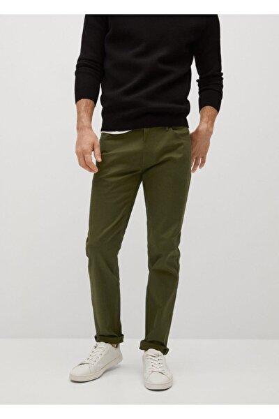 Erkek Haki Dar Kesim Denim Görünümlü Serj Pantolon