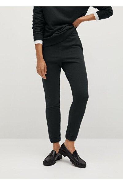 Kadın Siyah Jogger Tarz Pamuklu Pantolon