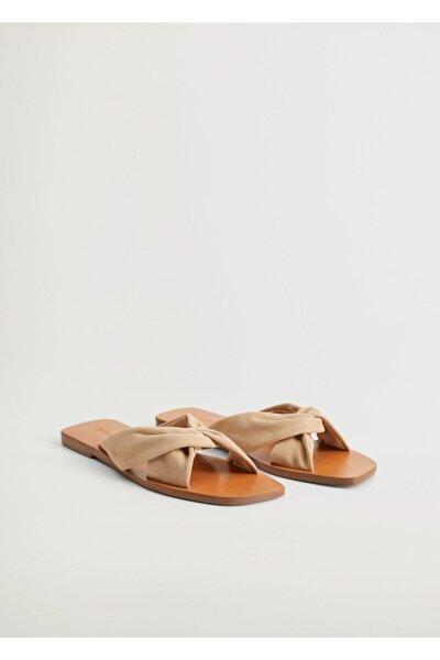Kadın Bej Deri Bantlı Sandalet