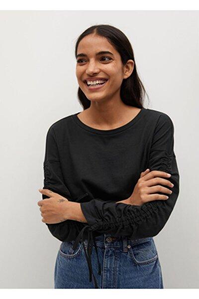 Kadın Siyah Büzgülü Uzun Kollu Tişört
