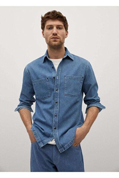 Erkek Mavi Cepli Kot Gömlek