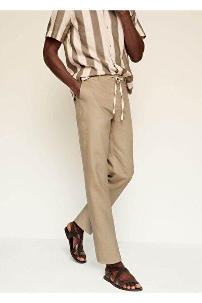 Erkek Bej Relaxed Keten Pantolon