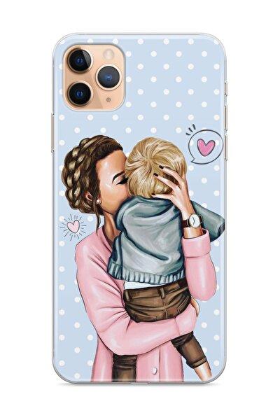 Apple Iphone 11 ProTelefon Kılıfı Anne Oğul Puantiye Tasarımlı