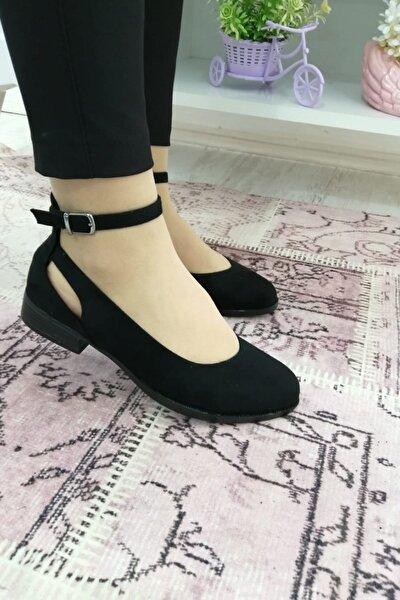 Kadın Siyah Bilekten Bağlamalı Ökçeli Ayakkabı