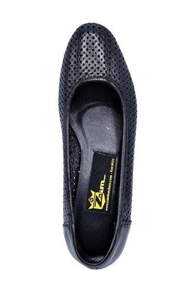 Hakiki Deri Siyah Kadın Klasik Topuklu Ayakkabı 505061810-1