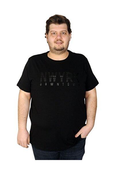 Erkek Siyah Büyük Beden New York Baskılı Bisiklet Yaka T-Shirt