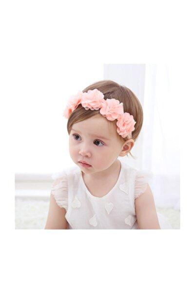 Çiçekli Saç Bandı Kız Bebek Saç Aksesuar Somon Bandana