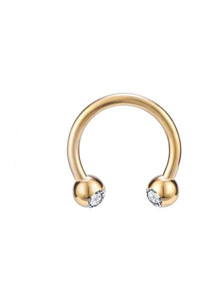 Cerrahi Çelik Taşlı Gold Rengi Kulak-dudak-burun Piercing (iç Çap 8 mm)