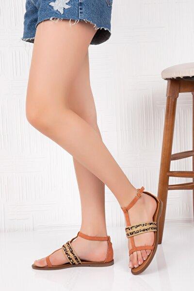 Hakiki Deri  Kadın Sandalet Somon