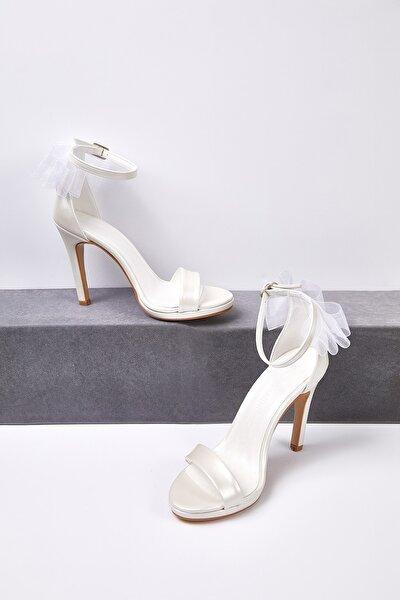 Kadın Fildişi Rengi Tül Detaylı Topuklu Gelin Ayakkabısı MARION BRIDAL
