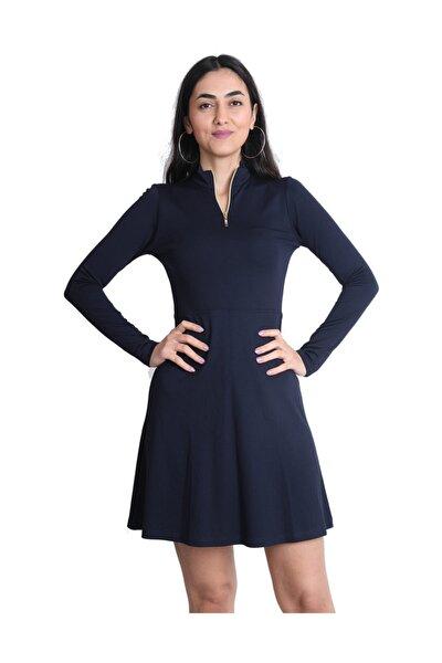 Kadın Lacivert Fermuarlı Elbise