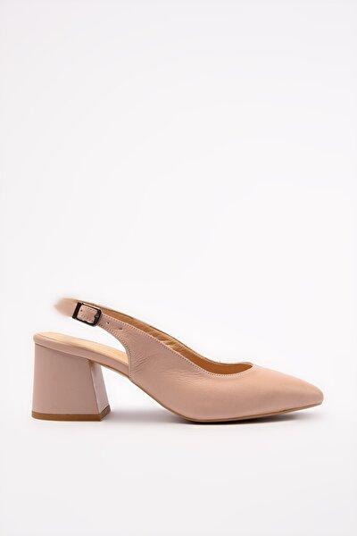Hakiki Deri Pudra Kadın Klasik Topuklu Ayakkabı 01AYH205120A700